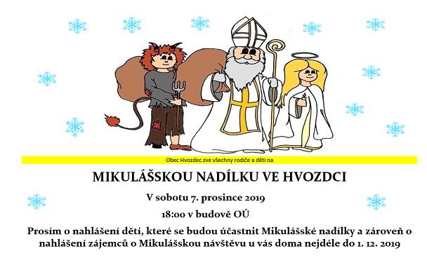 P O Z V Á N K A: Mikulášská nadílka ve Hvozdci v sobotu 7.12.2019